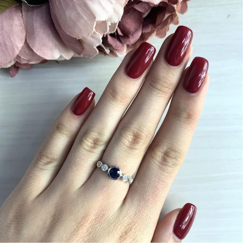 Серебряное кольцо SilverBreeze с натуральным сапфиром (2030331) 17 размер