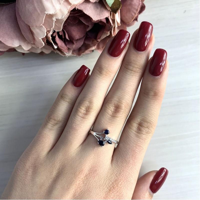 Серебряное кольцо SilverBreeze с натуральным сапфиром (2030263) 17.5 размер
