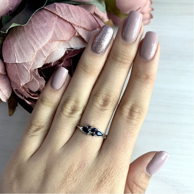 Серебряное кольцо SilverBreeze с натуральным сапфиром (2021865) 18.5 размер