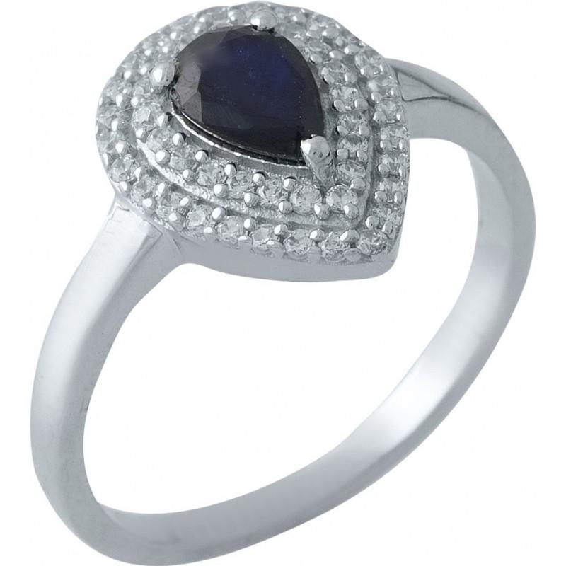 Серебряное кольцо SilverBreeze с натуральным сапфиром (1971239) 18 размер