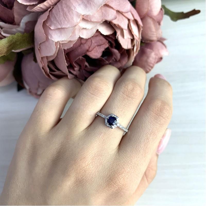 Серебряное кольцо SilverBreeze с натуральным сапфиром (1971093) 18.5 размер