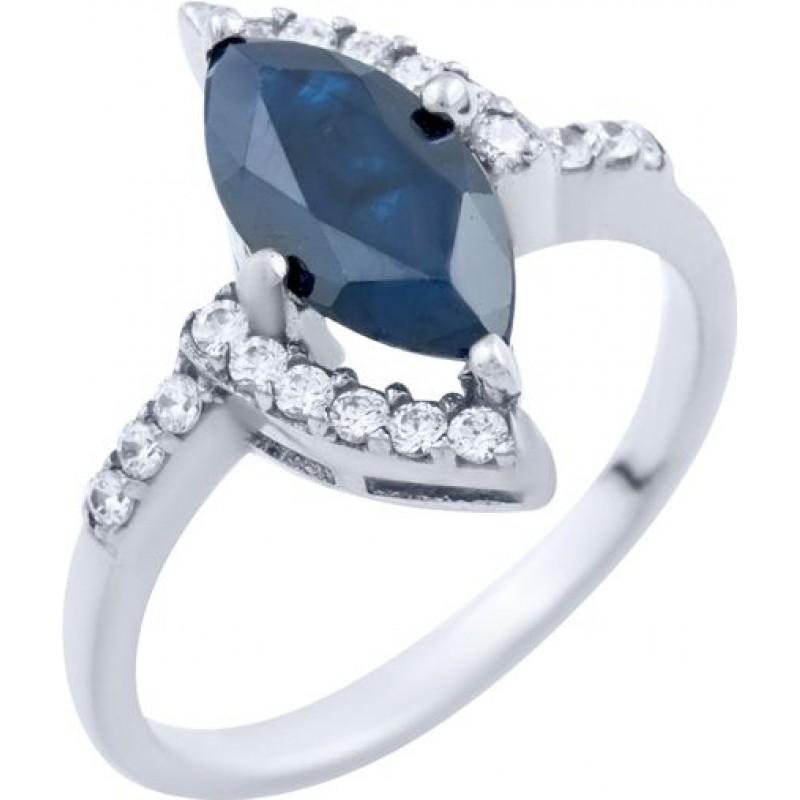 Серебряное кольцо SilverBreeze с натуральным сапфиром (1718766) 17.5 размер