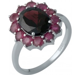 Серебряное кольцо SilverBreeze с натуральным рубином, гранатом (1987506) 17.5 размер