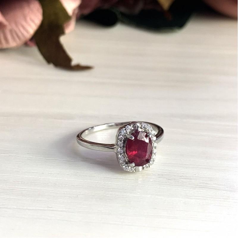 Серебряное кольцо SilverBreeze с натуральным рубином (2027713) 17 размер