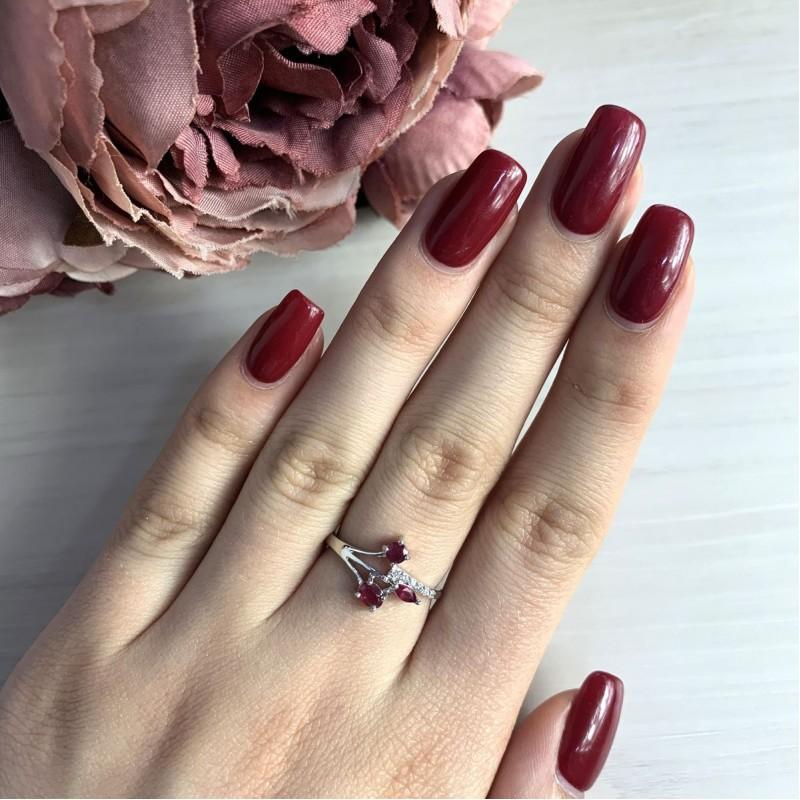 Серебряное кольцо SilverBreeze с натуральным рубином (2027126) 18 размер