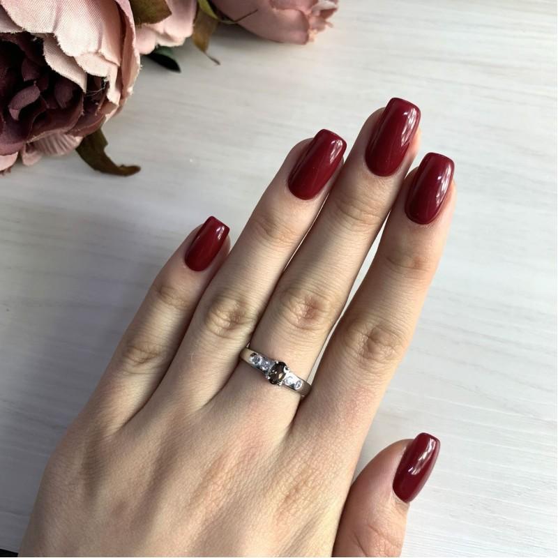 Серебряное кольцо SilverBreeze с натуральным раухтопазом (димчатим кварцем) (2025764) 18.5 размер
