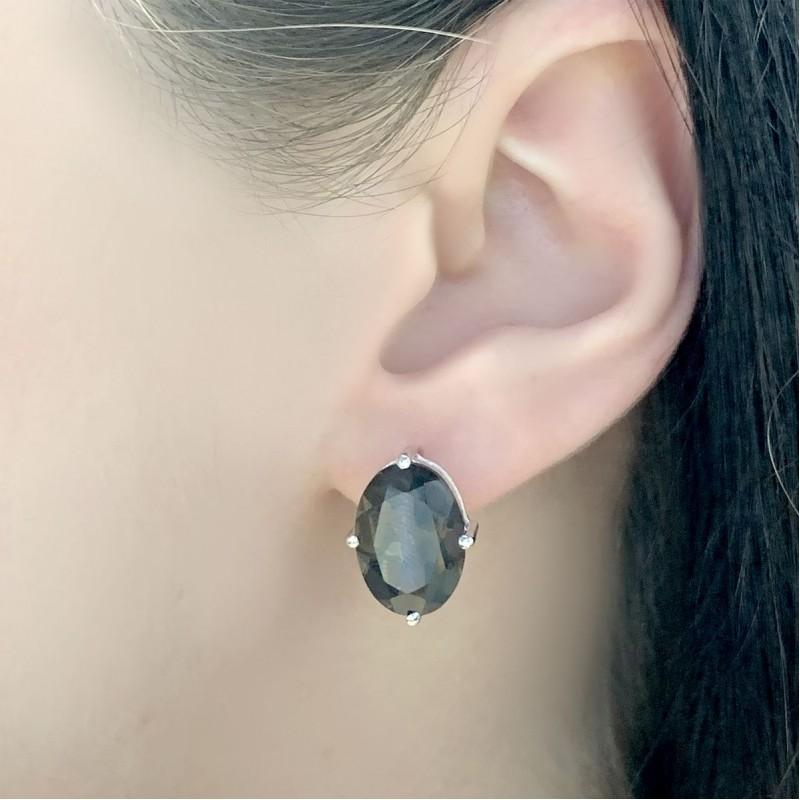 Серебряное кольцо SilverBreeze с натуральным раухтопазом (димчатим кварцем) (2025719) 17 размер