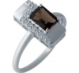 Серебряное кольцо SilverBreeze с натуральным раухтопазом (димчатим кварцем) (2025634) 18 размер