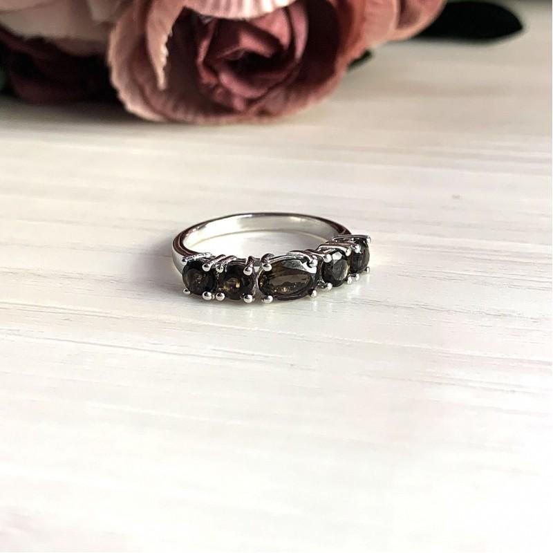 Серебряное кольцо SilverBreeze с натуральным раухтопазом (димчатим кварцем) (2025436) 17.5 размер