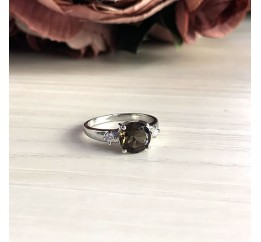 Серебряное кольцо SilverBreeze с натуральным раухтопазом (димчатим кварцем) (2025313) 17 размер