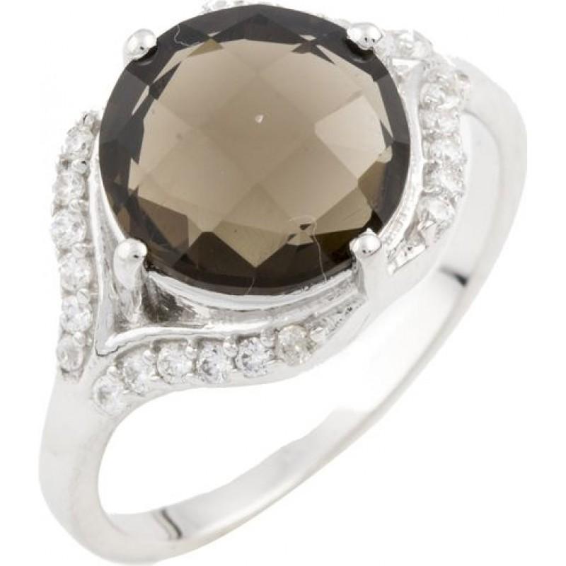 Серебряное кольцо SilverBreeze с натуральным раухтопазом (димчатим кварцем) (0464411) 18 размер