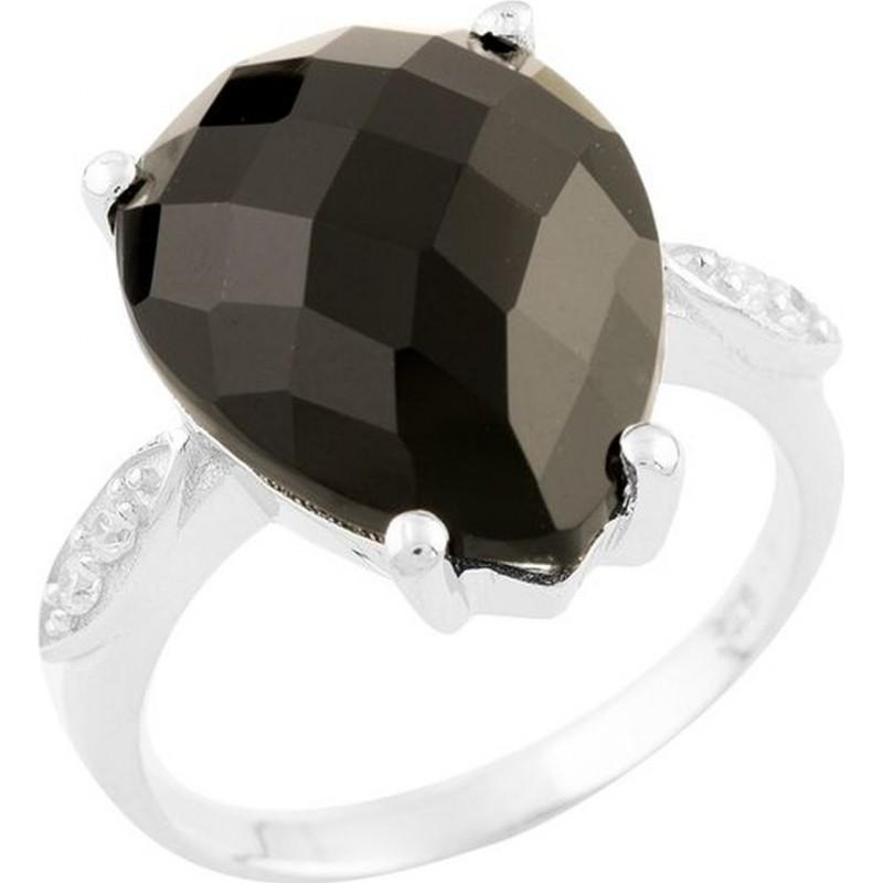 Серебряное кольцо SilverBreeze с натуральным ониксом (0955308) 17.5 размер
