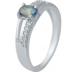 Серебряное кольцо SilverBreeze с натуральным мистик топазом (2032496) 18 размер