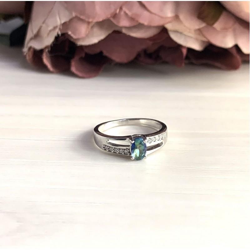 Серебряное кольцо SilverBreeze с натуральным мистик топазом (2032496) 17.5 размер