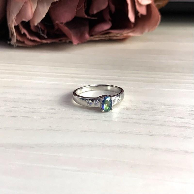 Серебряное кольцо SilverBreeze с натуральным мистик топазом (2024903) 18 размер