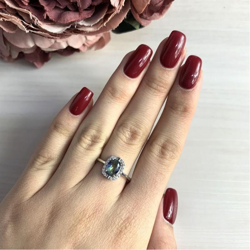 Серебряное кольцо SilverBreeze с натуральным мистик топазом (2024828) 17.5 размер