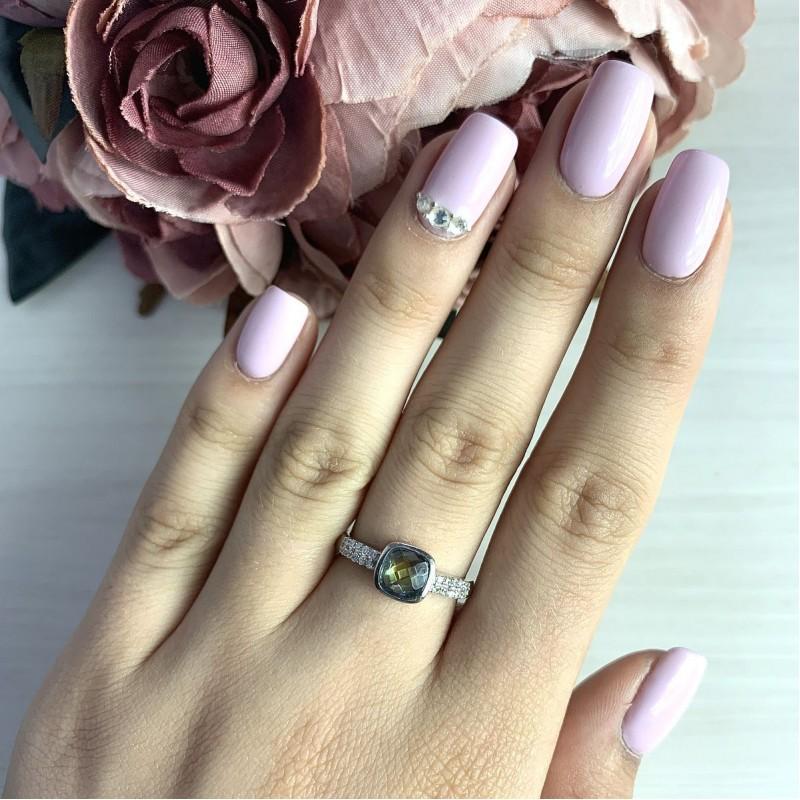 Серебряное кольцо SilverBreeze с натуральным мистик топазом (2017431) 17 размер