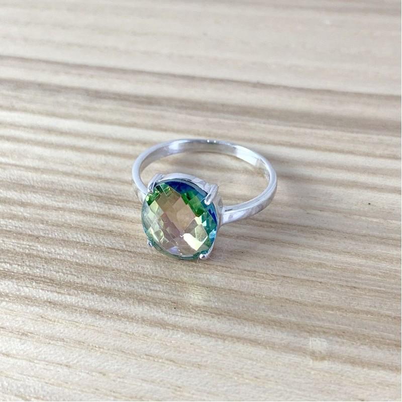 Серебряное кольцо SilverBreeze с натуральным мистик топазом (1988343) 17 размер