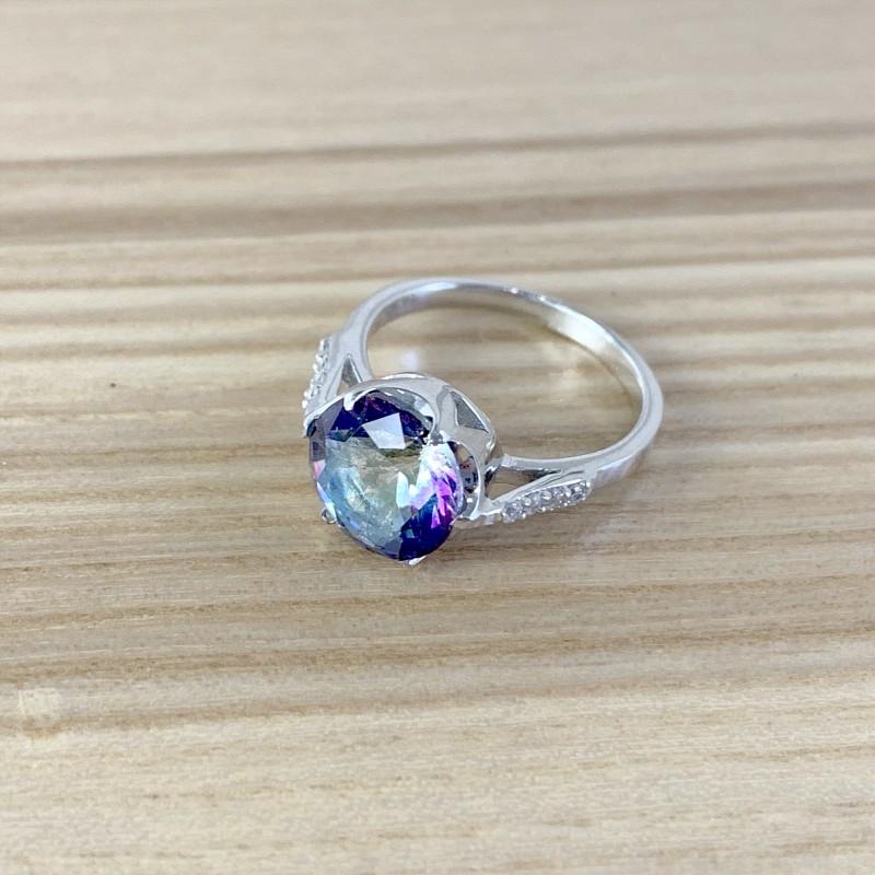 Серебряное кольцо SilverBreeze с натуральным мистик топазом (1988336) 17.5 размер