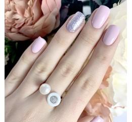 Серебряное кольцо SilverBreeze с натуральным керамикой, жемчугом (1431092) 18 размер