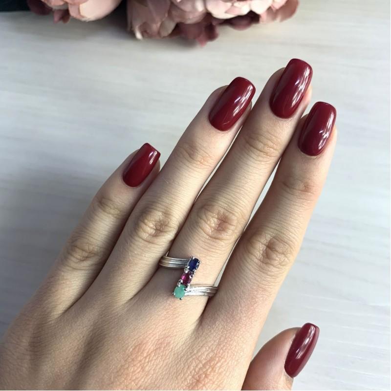 Серебряное кольцо SilverBreeze с натуральным изумрудом, рубином, изумрудом (2031819) 18 размер