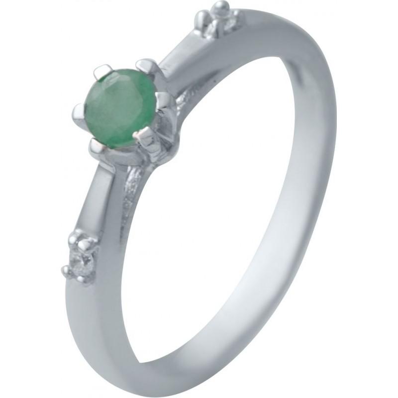 Серебряное кольцо SilverBreeze с натуральным изумрудом (2032700) 17.5 размер