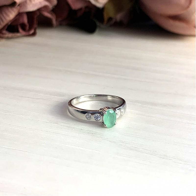 Серебряное кольцо SilverBreeze с натуральным изумрудом (2027539) 18.5 размер