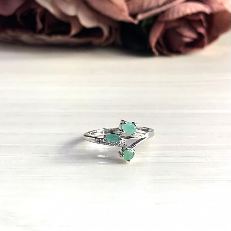 Серебряное кольцо SilverBreeze с натуральным изумрудом (2027263) 17.5 размер