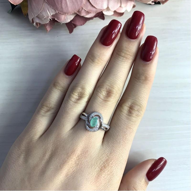 Серебряное кольцо SilverBreeze с натуральным изумрудом (1990469) 17 размер