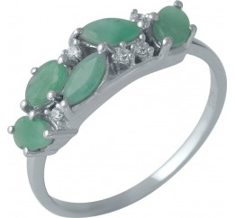 Серебряное кольцо SilverBreeze с натуральным изумрудом (1988459) 17 размер