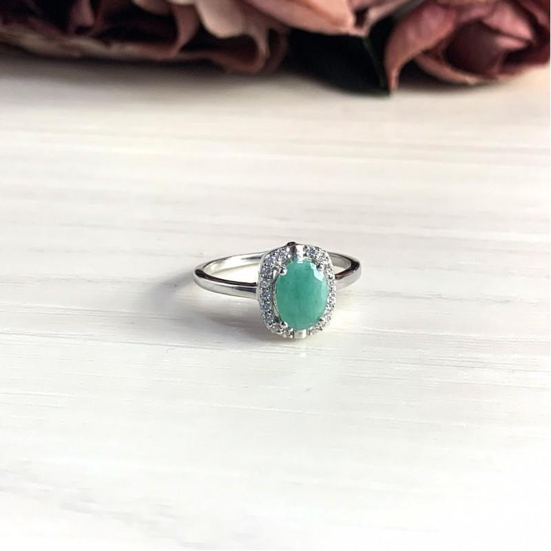 Серебряное кольцо SilverBreeze с натуральным изумрудом (1982488) 17 размер