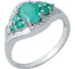 Серебряное кольцо SilverBreeze с натуральным изумрудом (1940679) 17 размер