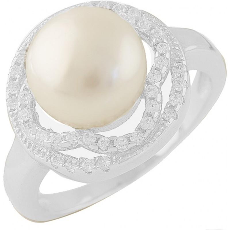 Серебряное кольцо SilverBreeze с натуральным жемчугом (1404218) 17.5 размер