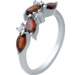 Серебряное кольцо SilverBreeze с натуральным гранатом (2030744) 17 размер