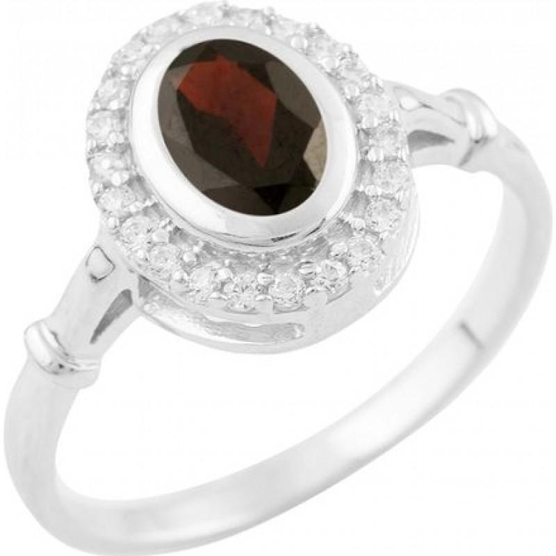 Серебряное кольцо SilverBreeze с натуральным гранатом (1512814) 17 размер