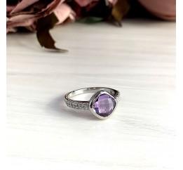 Серебряное кольцо SilverBreeze с натуральным аметистом (2020776) 18.5 размер