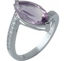 Серебряное кольцо SilverBreeze с натуральным аметистом (2007203) 18 размер