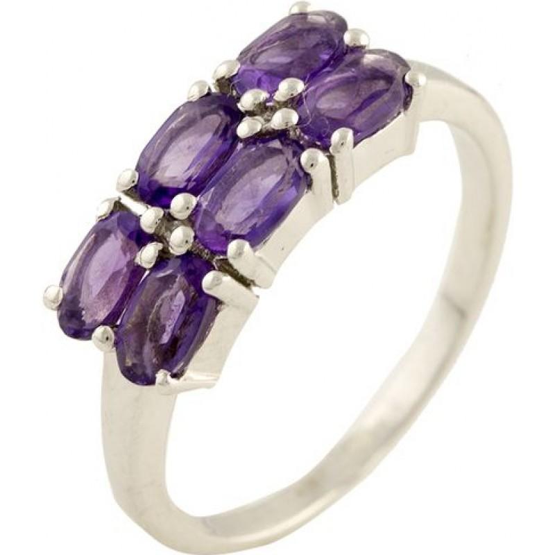 Серебряное кольцо SilverBreeze с натуральным аметистом (1199077) 17.5 размер