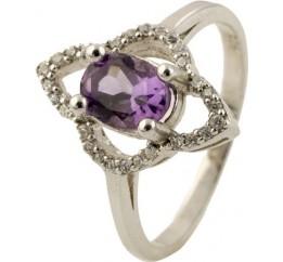 Серебряное кольцо SilverBreeze с натуральным аметистом (0269108) 16.5 размер