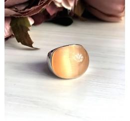 Серебряное кольцо SilverBreeze с кошачим глазом (2026143) 18 размер