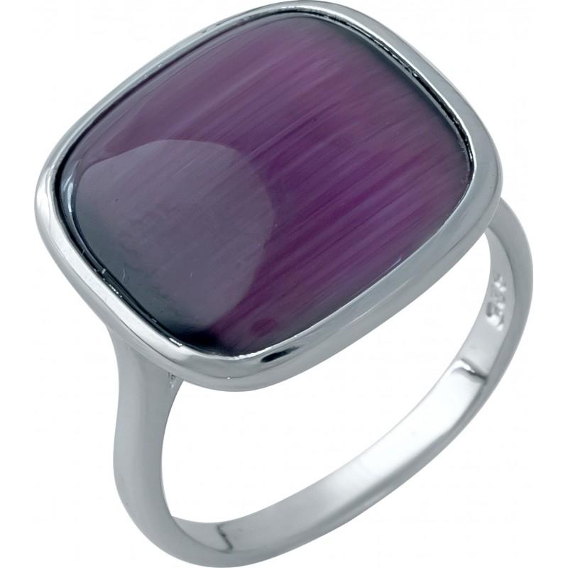 Серебряное кольцо SilverBreeze с кошачим глазом (1986028) 18 размер