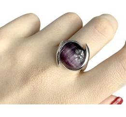 Серебряное кольцо SilverBreeze с кошачим глазом (1984598) 17.5 размер