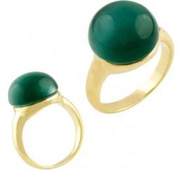 Серебряное кольцо SilverBreeze с кошачим глазом (1461983) 17 размер