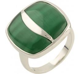Серебряное кольцо SilverBreeze с кошачим глазом (1155516) 17.5 размер