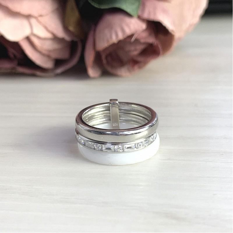 Серебряное кольцо SilverBreeze с керамикой (1978047) 17.5 размер