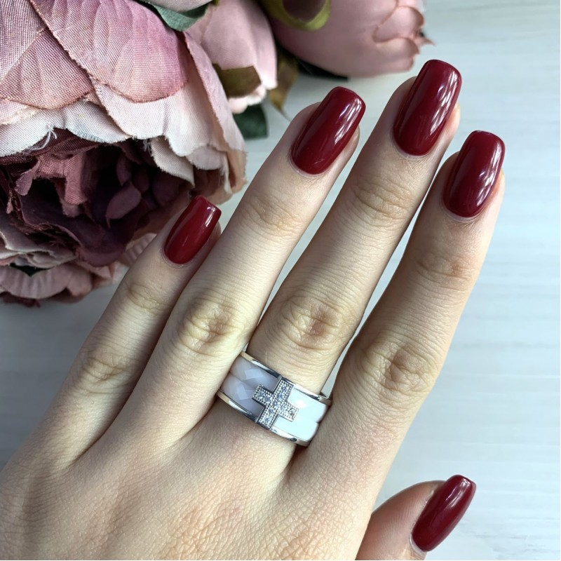 Серебряное кольцо SilverBreeze с керамикой (1150382) 19 размер