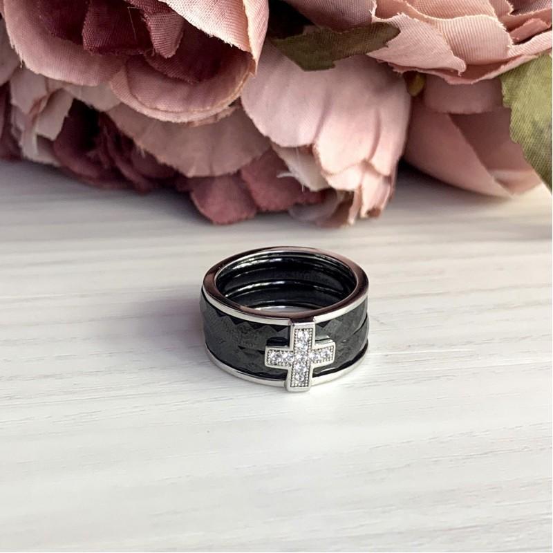 Серебряное кольцо SilverBreeze с керамикой (1150306) 18.5 размер