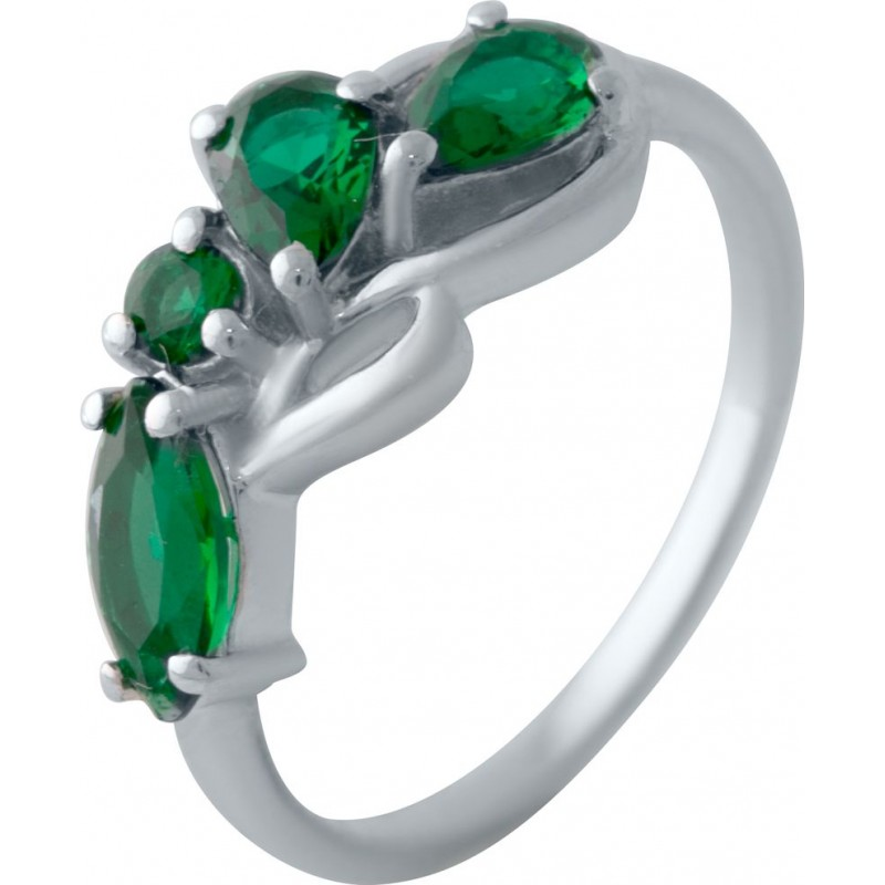 Серебряное кольцо SilverBreeze с изумрудом nano (2028567) 17.5 размер