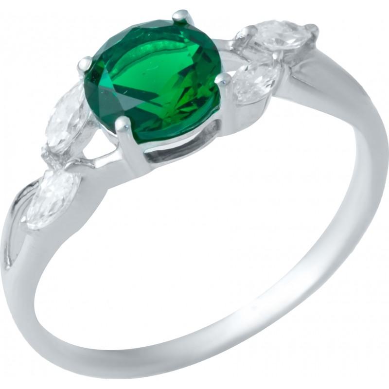 Серебряное кольцо SilverBreeze с изумрудом nano (1938089) 17 размер