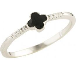 Серебряное кольцо SilverBreeze с емаллю, фианитами (0593807) 16.5 размер